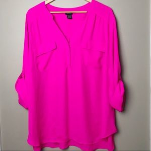 Torrid Hot Pink Button Pocket Pleated Blouse 4X